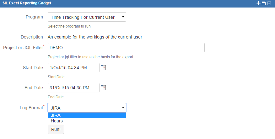 time tracking for current user sil excel reporting 2 0 confluence